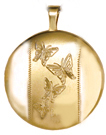 L511 gold butterfly round locket
