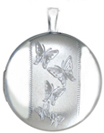 L511 five butterflies round locket