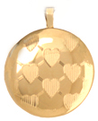 L512 Gold round locket with hearts