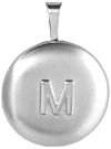 L541 small round locket with embossed initial