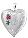 L5008 love with rose sterling locket