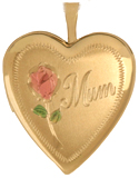 L5010K Mum with rose 20mm heart locket