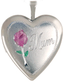 L5010K sterling 20mm heart locket with mum