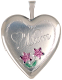 sterling mum locket with flowers