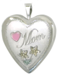 mom with flowers heart locket