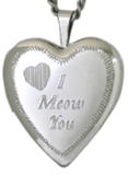 L5018 I meow you cat heart locket