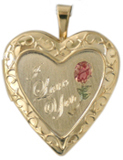 L5023 I love you with rose heart locket