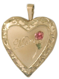 gold embossed mom with rose locket