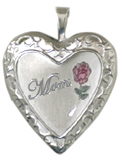 silver embossed frame with mom locket