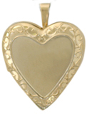 gold heart locket embossed frame