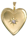 gold 20mm heart locket with stone
