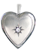20mm heart locket with stone
