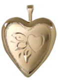 gold scroll heart locket