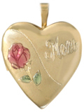gold mom with rose heart locket