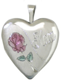 silver mom with rose locket