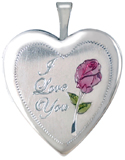 L5050 I love you with rose heart locket