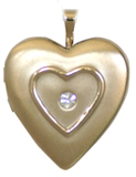 gold raised heart locket