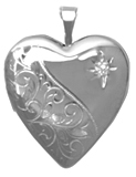 L5064D scroll with diamond heart locket