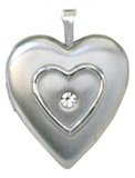 raised heart locket with stone