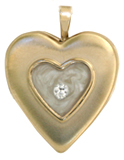 raised heart locket with white