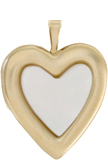 L5091 20mm heart locket with MOP stone inlay