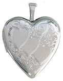20mm triple heart scroll locket