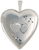 sterling 20 heart locket with 2 hearts