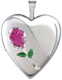 L5145E 20mm heart locket with rose