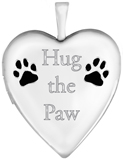 L5164E Hug the paw sterling heart pet locket