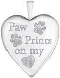 L5165 Paw Prints on my heart pet locket