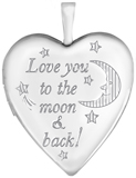 L5204A sterling love you to the moon heart locket