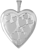 L5214 lines hearts 20mm heart locket