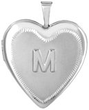 L5244 embossed initial heart locket