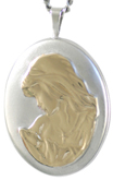 L8004 two tone mother and child locket