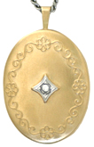 L8005 20 oval locket with stone