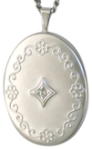 sterling oval locket with diamond