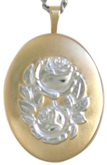 two tone embossed oval rose locket