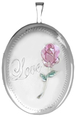 L8015 20mm oval locket with rose