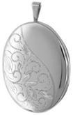 L8042 sterling oval locket with scrolls