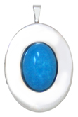 L8079 20 oval locket with turquoise stone