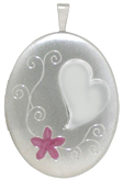 L8083 heart and flower oval locket