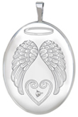 L8086D sterling oval locket with wings and diamond