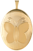 L8103 gold lined butterfly oval locket