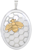 L8104 2 tone bee with hive oval locket