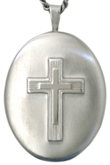 sterling embossed cross oval locket