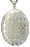 sterling 20 oval diamond pattern locket