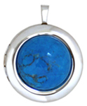 C1126 22 round locket with turquoise