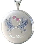 sterling love birds 22mm round locket