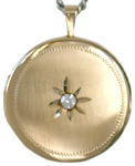 L1009 22 round locket with stone