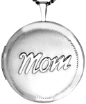 L1040 embossed mom round locket